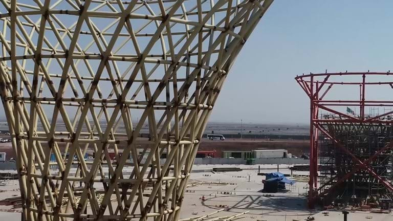 New International Airport Mexico City, drone fly-through, Foster + Partners