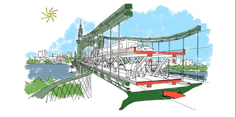 Foster + Partners reveals plans for temporary crossing over Hammersmith Bridge